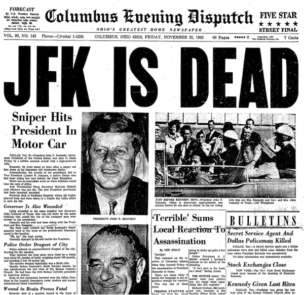 JFK IS DEAD headline