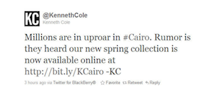 Inappropriate Tweet from Kenneth Cole during Cairo uprising