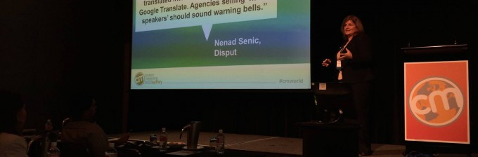 Sarah Mitchell speaking about globalisation at Content Marketing World Sydney 2014