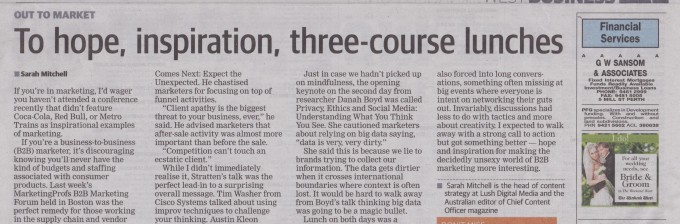 To hope, inspiration, three course lunches article in The West Australian newspaper