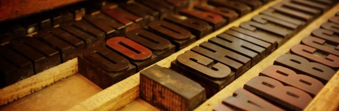 Box of typesetting letters.