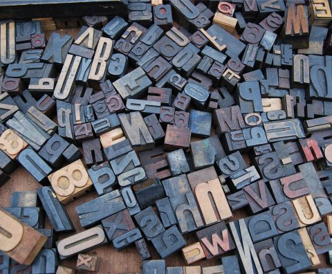 A close-up of typesetting blocks