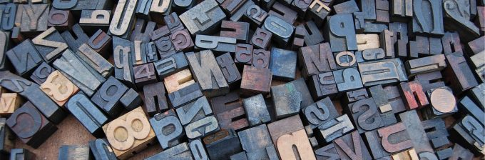 A close-up of typesetting blocks - how writing used to end up on the page.